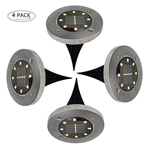Sensorik Lampe de jardin solaire d'extérieur à LED solaire étanche pour extérieur 8 LED Pour le jardin ou le jardin Pour le jardin ou la pelouse, intérieur et extérieur, blanc chaud, Lot de 4