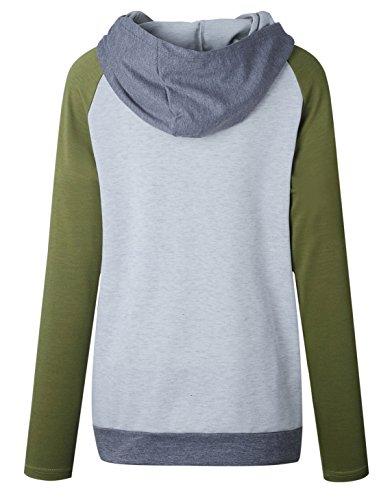 Automne- Hiver Femme Manche Longue Zippé Sweater Multicolore Collure Jumper Hoodie Sweatshirt à Capuche Tops Hauts Vert