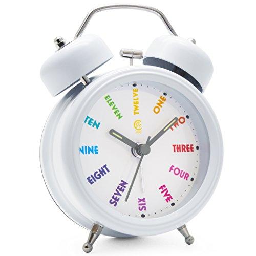 JCC Twin Bell Wecker, nicht tickend, mit Nachtlicht und lautem Alarm, 7,6 cm (3 Zoll), metall, White - Colorful Dial, 3 inch Clock - Hell Wecker Nicht Zu