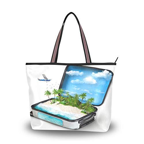 Emoya Damen Schulter-Handtasche, Reisen, offen, Koffer, Tropische Inselpalme, Schultertasche, Tragegriff für Frauen, Mehrfarbig - multi - Größe: Medium