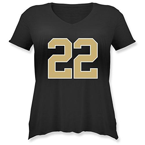 Shirtracer American Football - Football New Orleans 22 - Weit Geschnittenes Damen Shirt in Großen Größen mit V-Ausschnitt Schwarz