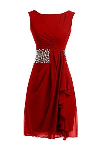 Sunvary bello Chiffon Bateau V posteriore per matrimonio, damigella d'onore abito da sera Red