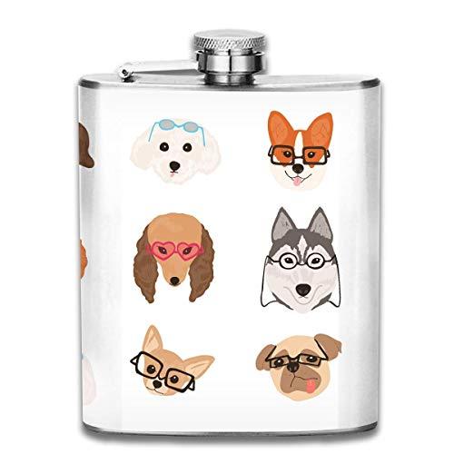 Flaschen Mops Corgi Hunde mit Brille Portable 304 Edelstahl auslaufsicher Alkohol Whisky Alkohol Wein 7 Unze Topf Flachmann Reise Flasche Camping Flagon für Mann Frau Großes kleines Geschenk