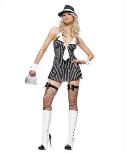 Und Gangster Pink Kostüm Schwarz - Leg Avenue Sexy Miss Mafia Gangster Kostüm schwarz/pink, extra klein
