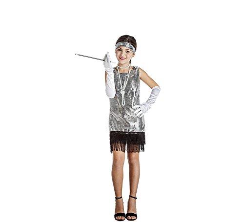 Imagen de disfraz de charlestón plata con flecos para niña