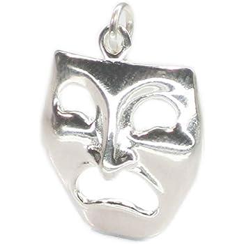 925 Sterling Silver Drama Mask Pendant Comedy Tragedy Charm Fashion