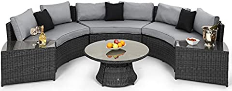Maze Rattan Half Moon Sofa Set in a Mixed Grey