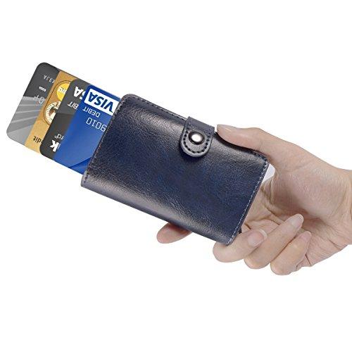 Herren Geldklammern - ManChDa Männer Blau RFID Kreditkarte Halter Automatisch Pop-up Aluminium Blockieren Leder Fall Geschäft Schlank Mini Brieftasche (Schlank Wallet Credit Card)