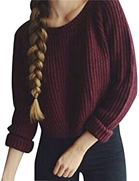 Suéter Jersey Corto Cuello Redondo Jerseys de Punto Mujer Sueter de Dama Sueteres Prendas de Punto Sueters Tejidos...