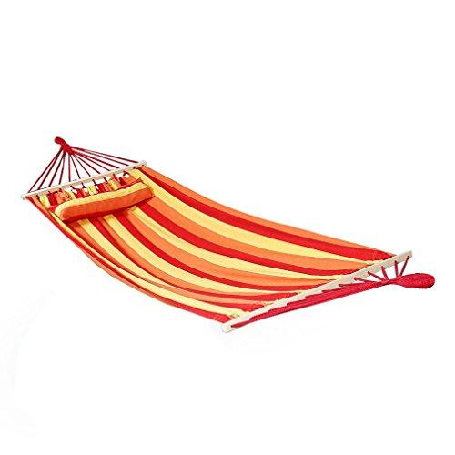 Kinlo® Hängematte Querholz Hängematte mit Kisse Liegefläche ca. 200X100cm Stabhängematte Rot OHNE Gestell