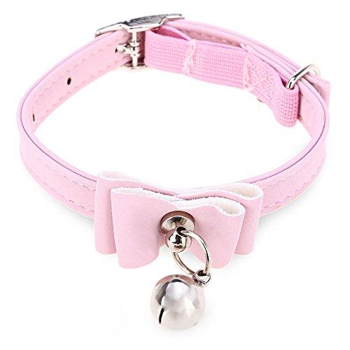 Vibration Halsband Katze (Perfectii Katzenhalsband Hundehalsband mit Glöckchen Bowtie Bell Beflockung Halsband für Hunde Katzen Verstellbar 17-25 cm)