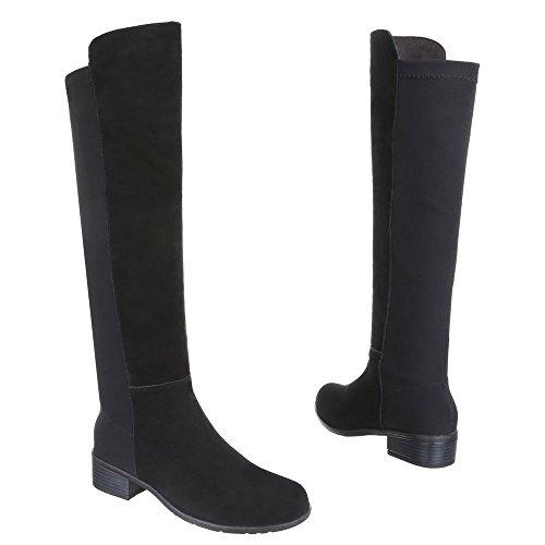 Chaussures, hB-b8519 bottes daim rembourré Noir - Noir