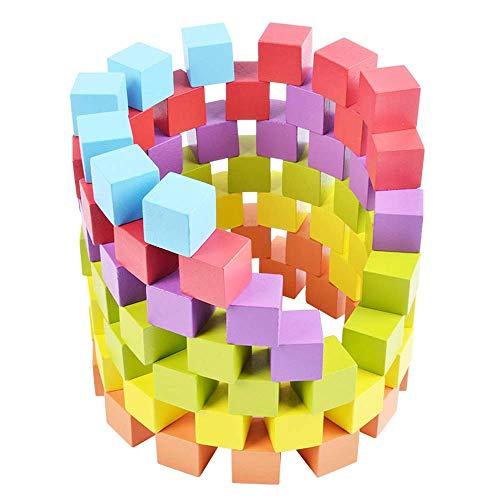 YZWJ Cubic Blocks - Puzzle Kids Früherziehung Gebäude Spielzeug Holz 100 Farbblöcke für Jungen und Mädchen Kleinkinder Geschenke - Gebäude Junge Spielzeug