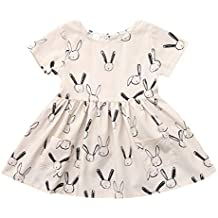 Fineser Baby Clothes Toddler Easter Dress, Baby Kid Girl Short Sleeve Rabbit Print Pocket Swing Loose Midi Casual Easter Dress (Beige, 18-24 Months(100))
