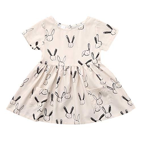 Staresen Sommer Kinderkleidung Party lässiger Rock Prinzessin Rock Kinder Kurzarm Kleider Easter Bunny - Kleid mit Taschenmuster Baby ärmelloser Overall Prinzessin Kleid