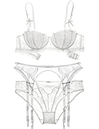 28911bce8ba Varsbaby Women Embroidery Lace Half Cup Bra and Panties With Garters Sets 3  Pieces