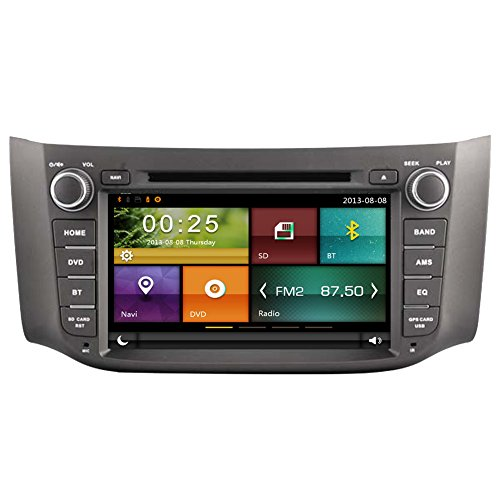 autosion Auto DVD Player GPS Radio Stereo Haupteinheit für Nissan Sylphy Pulsar Sentra B17 2012–2015 Auto Navigation Audio Kapazitive Touchscreen Bluetooth A2DP USB SD Lenkrad Control (Nissan Sentra-touch-screen)
