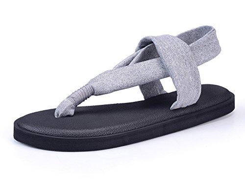 Santiro Zehentrenner Damen Yoga Matte Sohle Sandalen Flach und Leichtgewicht Sandaletten.SSD003G3-41