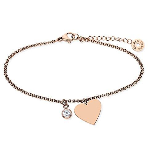 URBANHELDEN - Armband Basic mit Herz Anhänger und Zirkonia Kristall - Damen Schmuck Verstellbar, Edelstahl - Armschmuck Armkette - Rosegold