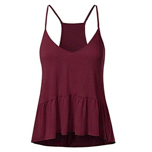 SANFASHION Frauen Rüschen Sexy ärmellose Baumwolle Camis Bluse Plus Größe (L, Rot)