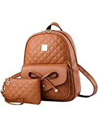 4ac269555d Alice Fashion Girls Bowknot 2-PCS Fashion Backpack Cute Mini Leather  Backpack Purse for Women