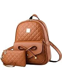 ba8fbd52d2 Alice Fashion Girls Bowknot 2-PCS Fashion Backpack Cute Mini Leather Backpack  Purse for Women
