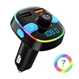 Bluetooth FM Transmitter, ZeaLife Bluetooth 5.0 Auto FM Transmitter QC3.0 KFZ Radio Adapter mit 7 Farbe LED Backlit, Dual USB Transmitter Unterstützt Siri Google USB Stick TF Karte Freisprechanlage