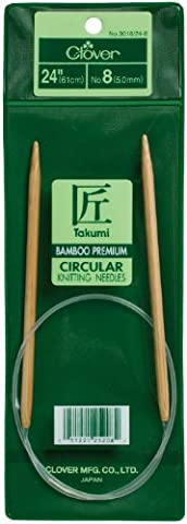 Clover Takumi Bamboo Circular Knitting Needles 24-inchSize 6/4mm, Other, Multicoloured