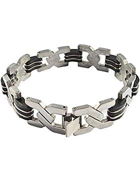 SODIAL(R) Edelstahl Gummi Kautschuk Armband Link Handgelenk Silber Black Elegant Herren