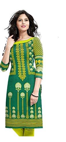 Magic World Women Green Georgette Semi Stich Kurtis (New Kurti Kurta 5107)  available at amazon for Rs.199