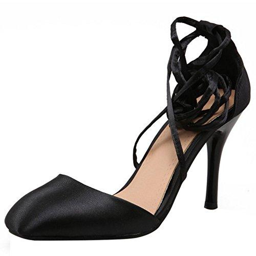 COOLCEPT Femmes Mode Lacets Sandales Bout Ferme Talon Aiguille Chaussures Noir