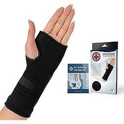 Ärztlich entwickelte kompressive Handbandage inklusive von Ärzten verfasstes Handbuch (Schwarz)