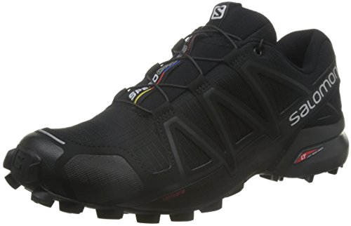 Salomon Speedcross 4 Herren Trailrunning-Schuhe, Black/Black/Black Metallic, 45 1/3 EU