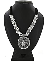 ad93d7a5e El Regalo's Oxidized/German Silver Durga Ma Pendant Thread Necklace with  Ghungru   Temple Jewelry