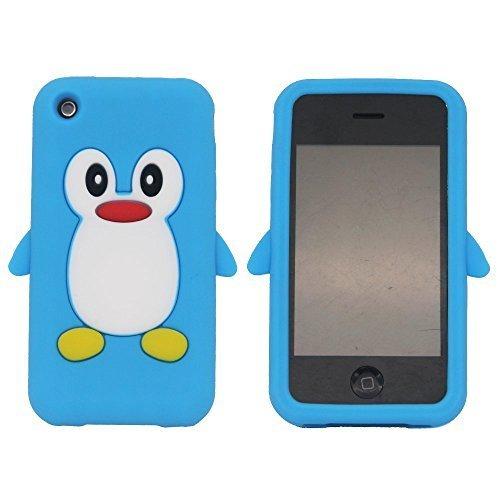 Tsmine Apple Ipod Touch 4. Generation Pinguin-Karikatur-Fall - Cute 3D Penguin Weiche Silikon-Rückseite waschbar Cover Case Schutzhülle für iPod Touch 4. Gen., Hellblau (Pinguin-ipod-fall)