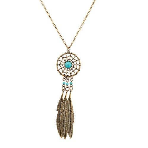 LUX accesorios Tribal Atrapasueños Colgante Turquesa Collar Con Colgante