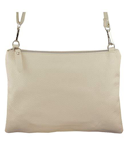 Freyday Echtleder Damen Umhängetasche Clutch kleine Tasche Abendtasche 28x31cm (Beige) -