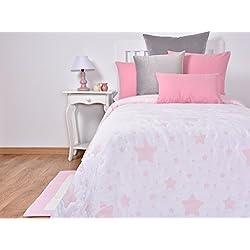 Tiendas Mi Casa Colcha ESTRELLITAS reversible. (Rosa, cama 135 cm (240x270 cm))