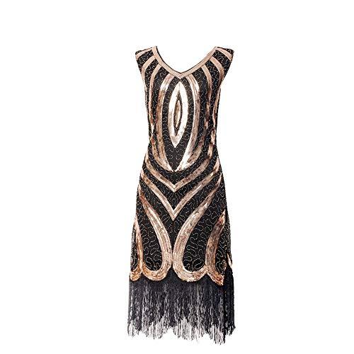 ROYAL SMEELA Damen 1920er Jahre Sequenziert Franse Flapper Art Deco - Tolles Gatsby Abendkleid Vintage Flapper ärmellose Kleider Cocktail Kleid