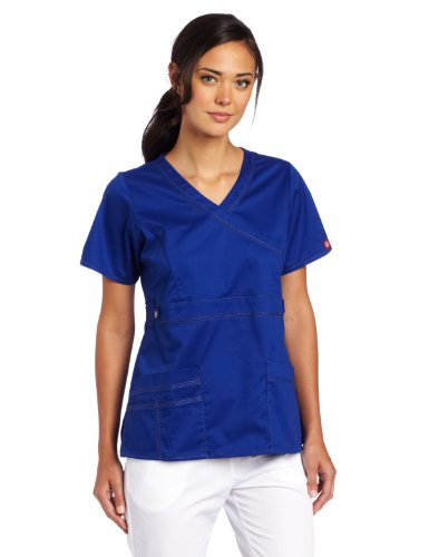 Dickies Scrubs Women's Gen Flex Junior Fit Contrast Stitch Mock Wrap Shirt, Galaxy Blue, 3X-Large (Wrap Junior-fit Mock)