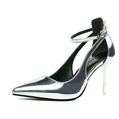 Moda Donna Sandali Sexy donna tacchi tacchi estate pu Office & Carriera Stiletto Heel fibbia Nero / Rosso / Bianco / argento / grigio altri Silver