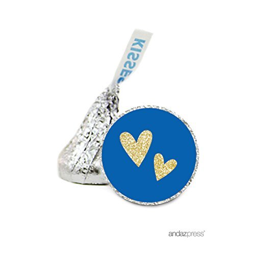 Andaz Press Chocolate Drop Labels Stickers Single, Wedding, Double Hearts Royal Blue and Faux Gold Glitter, 216-Pack, For Hershey's Kisses Party Favors, Stationery, Gifts, Decorations by Andaz Press (Gold Hershey Kisses)