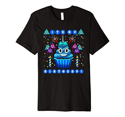 Blau Poop Emoji Smiley, Geburtstag Cupcake Party T Shirt