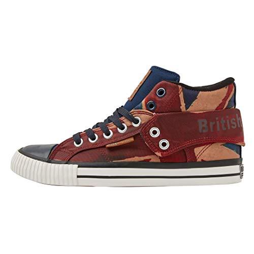 British Knights Herren Roco Hohe Sneaker, Rot (Red/Beige/Navy Union Jack 01), 42 EU