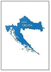 Kühlschrankmagnet, Motiv Karte von Kroatien mit Anzeige von Zagreb