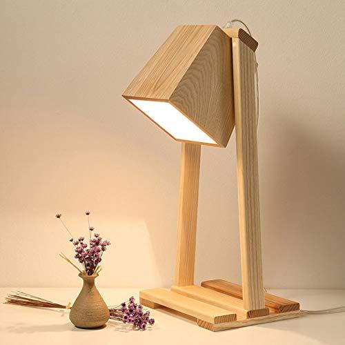DRQ Kreative Holz Tisch Schreibtischlampe Schlafzimmer Nacht Lesen Nordic Office Home Studie Arbeitsnachtlicht(Ohne Glühlampe)