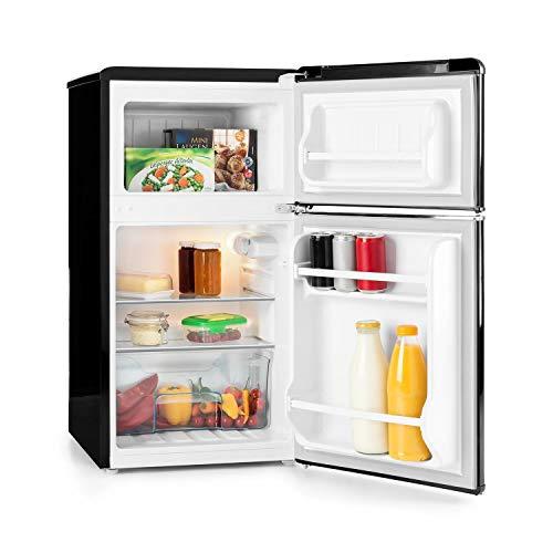 Klarstein Monroe Retro Mini-Kühlschrank Kühl- und Gefrierkombination (61 Liter Volumen, 24 Liter Gefrierfach, Gemüsefach, 2 Glas-Ablagen, 2 Türablagen, 40 dB leise) schwarz
