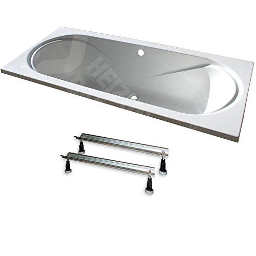 """Acryl- Rechteck Badewanne\""""Toscana\"""" 180 x 80 cm mit Mittelablauf (mit Fußgestell ohne Ablauf)"""