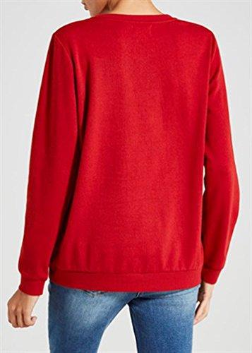 YOUJIA Donna Felpe di Natale Lettera di Stampa Xmas Felpa Collo Rotondo Pullover T-Shirt Top Rosso