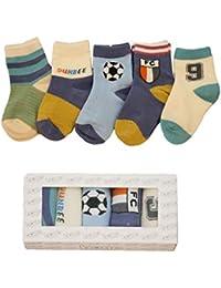 Mxssi 5pairs/Lot New Kids Calcetines Algodón Niñas Niños Baby Infant Fashion Stripe Cartoon Calcetines Deportivos